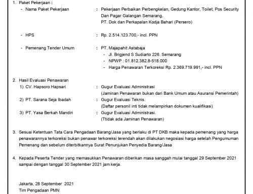 Pengumuman Pemenang Tender Umum Pekerjaan di Galangan Semarang
