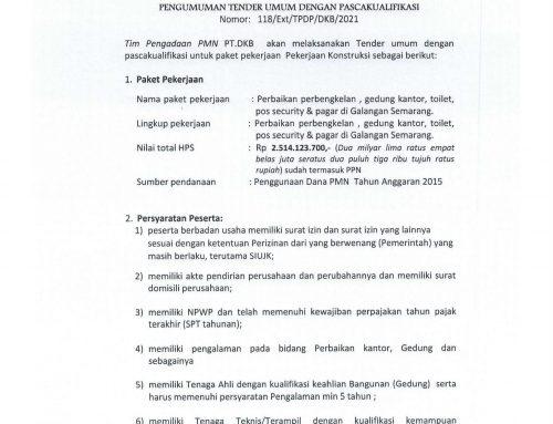 Pengumuman Tender Umum Pekerjaan di Galangan Semarang